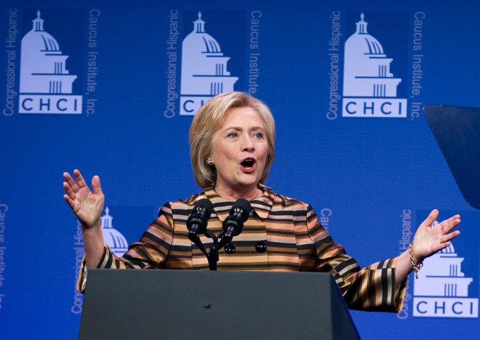 Democratic presidential candidate Hillary Clinton speaks to the Congressional Hispanic Caucus Institute's 39th Annual Gala Dinner held at the Washington Convention Center, in Washington, Thursday, Sept. 15, 2016.(Jose Luis Magana/AP)