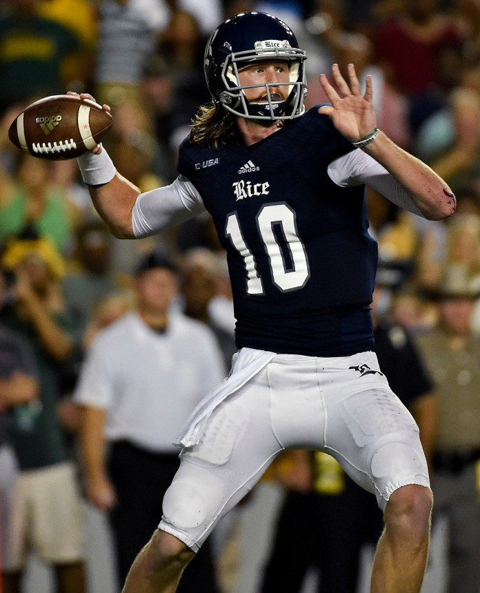 Rice quarterback Tyler Stehling throws a pass in the first half of an NCAA college football game against Baylor, Friday, Sept. 16, 2016, in Houston. (Eric Christian Smith/AP)
