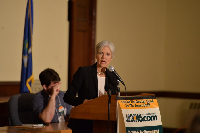Jill Stein spoke in Willimantic Thursday night an addressed topics varying from student debt to renewable energy. (Amar Batra/The Daily Campus)