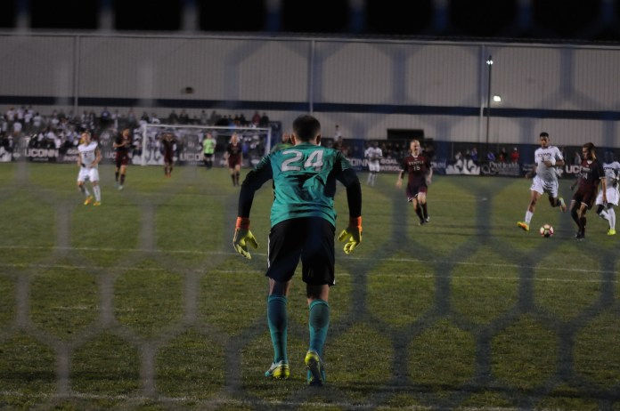 Goal keeper Scott Levene prepares for action against Temple on Saturday, Sept. 24 that resulted in a 1-0 win at Joseph J. Morrone Stadium. (Ruohan Li/The Daily Campus)
