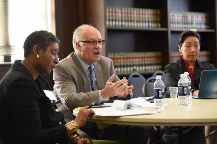 NEASC committee come back after 10 years to value the performance of UConn by group interviewing 6 students at the North Reading Room in the Wilbur Cross building on Monday. (Zhelun Lang/The Daily Campus)