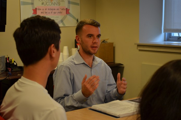 Adam Kuegler held a town hall-style meeting Tuesday night September 27th to hear about student concerns from the University of Connecticut Storrs, Avery Point and Stamford campuses. (Akshara Thejawsi/The Daily Campus)