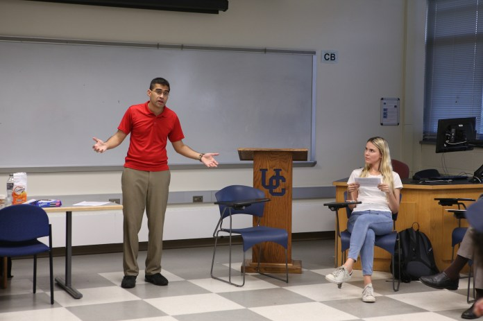 """Neil Sinhababu visited UConn on Tuesday and gave a speech based on the theory of Humean nature and desire he discusses in his upcoming book, titled """"Humean Nature."""" (Junbo Huang/The Daily Campus)"""