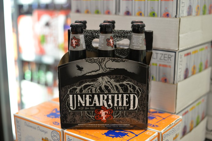Long Trail's Unearthed stout can be purchased at Storrs Wine and Spirits for around 12 dollars. (Amar Batra/The Daily Campus)