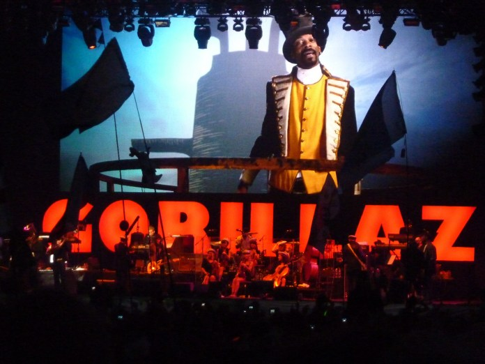 The Gorillaz take the stage in Glastonbury, United Kingdoms on June 25, 2010. (wonker/Flickr)