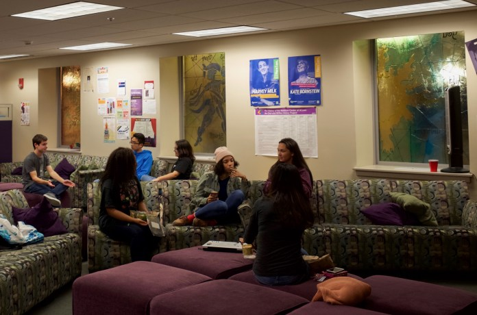 """Students in the Rainbow Center discuss """"The Out List"""" following a screening of the documentary as part of the rainbow cinema series on Thursday, Sept. 30, 2016. (Mingze Geng/The Daily Campus)"""