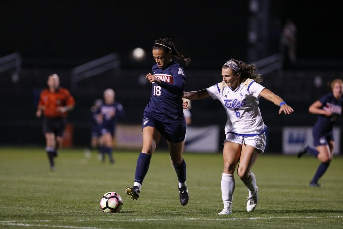 The Huskies defeat Tulsa 4-2 with early and late goals in the games to keep the lead the whole time. (Tyler Benton/The Daily Campus)