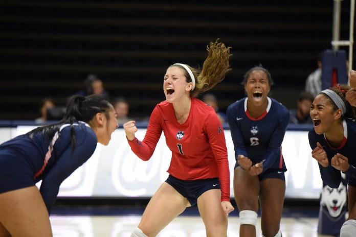 Sophomore Elizabeth Kline (#1) celebrates with teammates. (Zhelun Lang/The Daily Campus)
