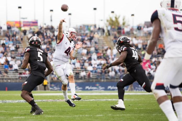 UConn quarterback Bryant Shirreffs throws the ball in the Huskies' 20-9 win over Cincinnati on Oct. 8, 2016 at Pratt & Whitney Stadium at Rentschler Field. (Jackson Haigis/The Daily Campus)