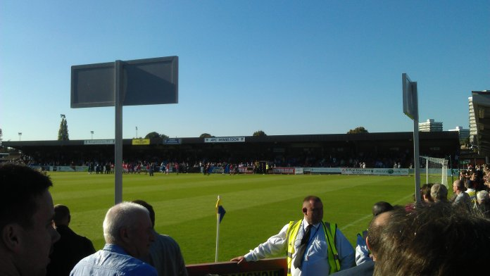 A game between AFC Wimbledon and Crewe Alexandra F.C. at Kingsmeadow Stadium in London, England. (Paul Wilkinson/ flickr )
