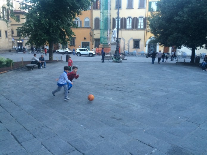 Street soccer in Piazza Santo Spirito. (Sten Spinella/The Daily Campus)