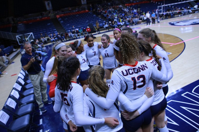 Women's volleyball played UCF on Friday, Oct. 14 and USF on Sunday, Oct. 16 at Gampel Pavilion. Our huskies lost to both teams. (Junbo Huang/The Daily Campus)