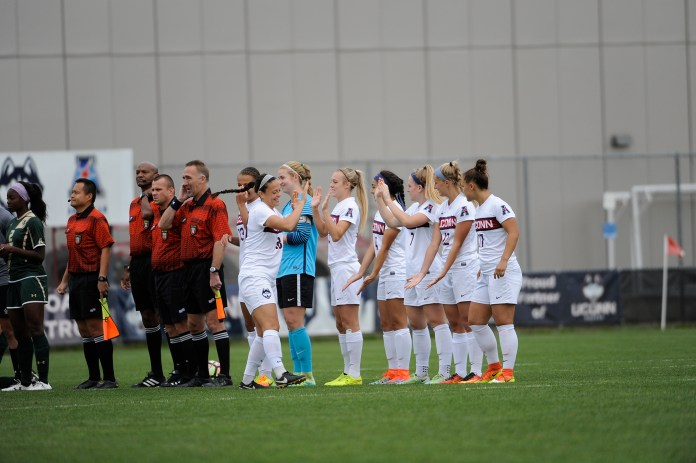 Senior's lined up before their Senior Day on Sunday, Oct. 16 against USF.(Jason Jiang/The Daily Campus)