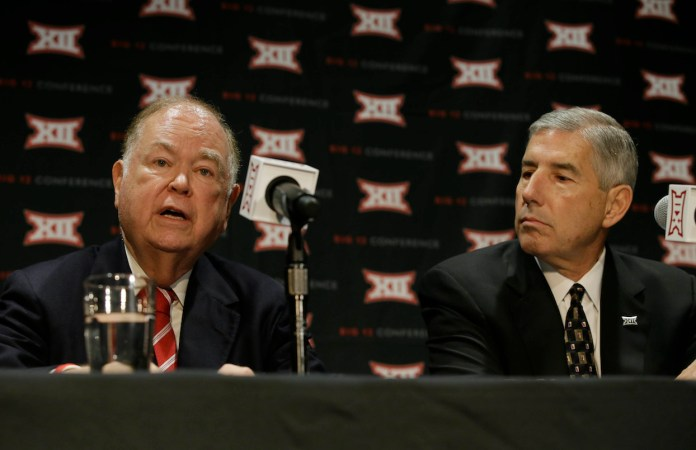 Oklahoma President David Boren, left, speaks as Big 12 Commissioner Bob Bowlsby looks on during a news conference after The Big 12 Conference meeting in Grapevine, Texas, Monday, Oct. 17, 2016. The Big 12Conference has decided against expansion from its current 10 schools after three months of analyzing, vetting and interviewing possible new members. (LM Otero/AP Photo)