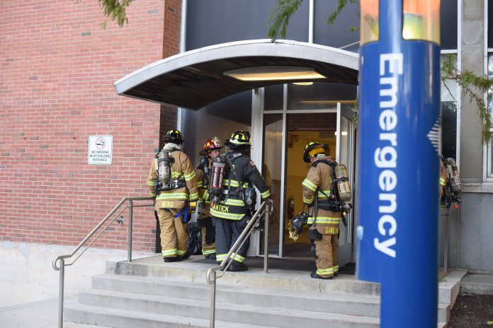 The UConn Fire Department responded to a fire in a basement laboratory of the Torrely Life Sciences building. (Zhelun Lang/The Daily Campus)