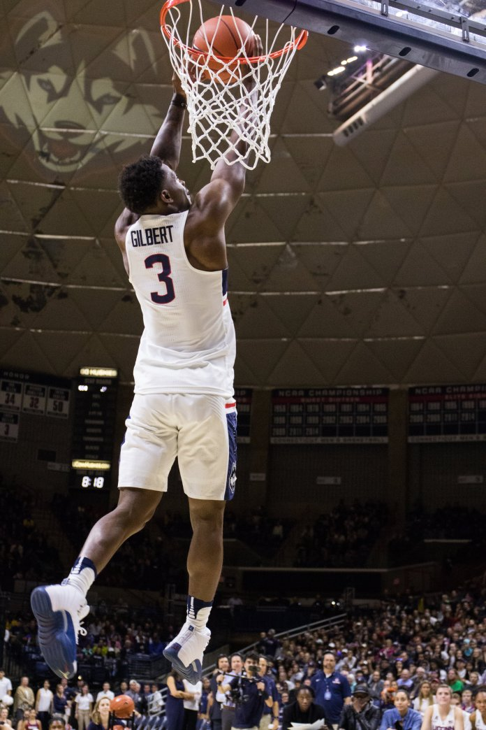 Freshman guard Alterique Gilbert leaps for the hoop during the dunk contest.