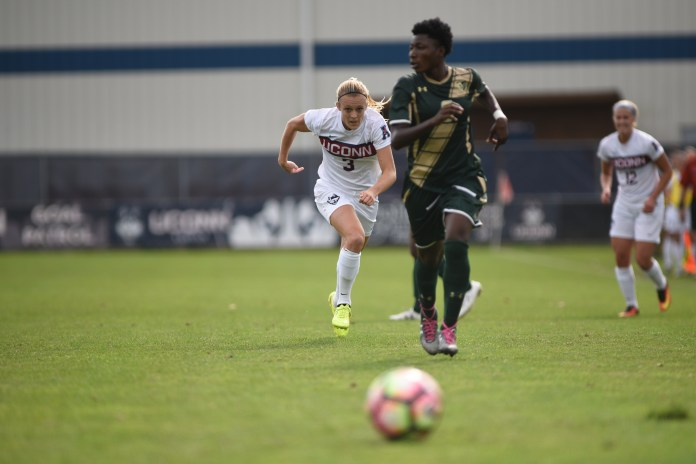 The Women's Soccer team defeated USF 3-1 on Oct, 16.their senior day. Stephanie Ribeiro scored 2 and Rachel Hill (no. 3)scored 1. UConn played Temple University on Saturday, Oct. 22 in Philadelphia and finished with 1-0 victory. (Charlotte Lao/The Daily Campus)
