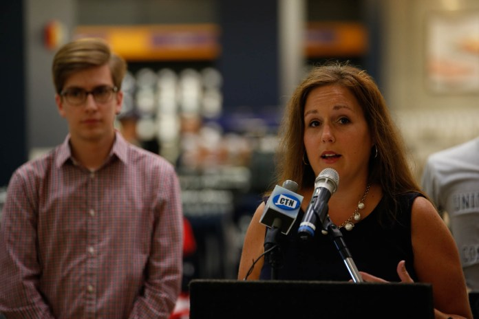 """State Senator Mae Flexer speaks during a press conference about open source textbooks at the UConn Bookstore on September 6, 2016. Flexer led the passage of an innovation economy law this year, which includes the creation of """"Innovation Places."""" (Tyler Benton/The Daily Campus)"""