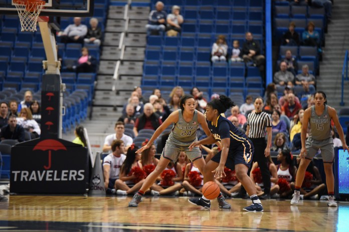 UConn Women's Basketball beat Pace at the XL center, Hartford on Sunday Nov. 6, with a overall score of 95-32. (Zhelun Lang/ The Daily Campus)