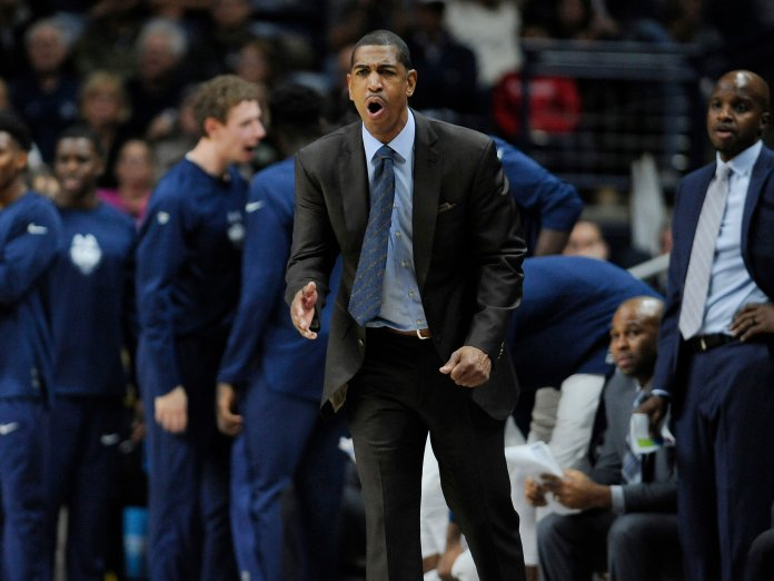 Connecticut head coach Kevin Ollie reacts in the second half of an NCAA college basketball game against Northeastern, Monday, Nov. 14, 2016, in Storrs, Conn. (Jessica Hill/AP Photo)