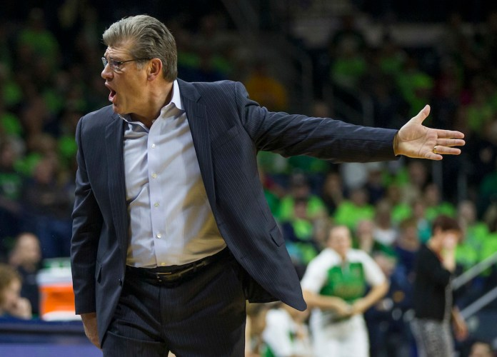 Connecticut head coach Geno Auriemma yells to his bench after a turnover during the second half of an NCAA college basketball game Wednesday, Dec. 7, 2016, in South Bend, Ind. Connecticut won 72-61. (Robert Franklin/AP Photo)