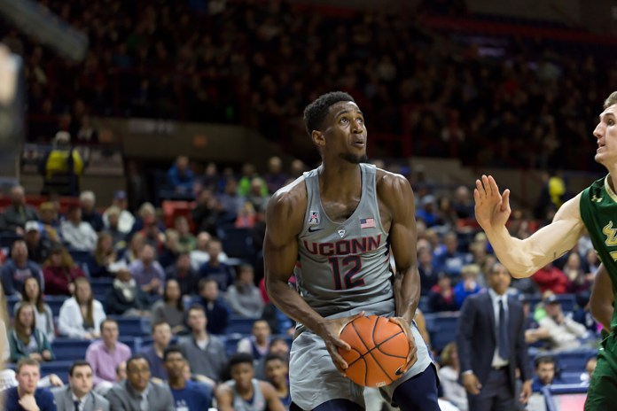 UConn takes on the South Florida Bulls Wednesday evening at Gampel Pavilion. The Huskies crushed the Bulls in their 97-51. (Tyler Benton/ The Daily Campus)