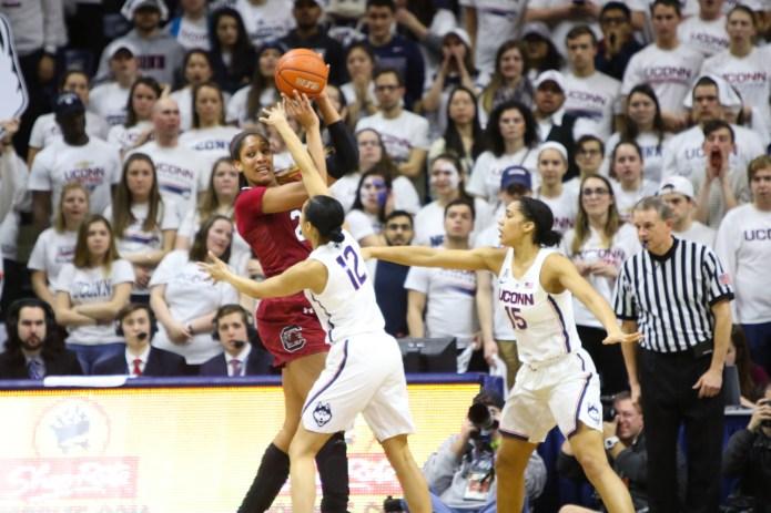 Saniya Chong defends South Carolina's Mikiah Herbert Harrigan during the second half.(Jackson Haigis/The Daily Campus)