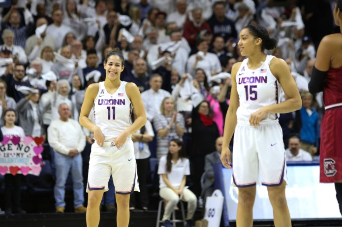 UConn's Kia Nurse (left) and Gabby Williams share a laugh just before tip-off.(Jackson Haigis/The Daily Campus)