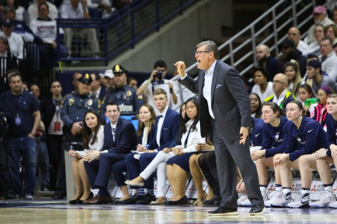 Geno Auriemma reacts to a foul call during the first half.(Jackson Haigis/The Daily Campus)