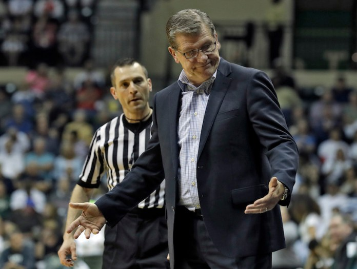 Connecticut head coach Geno Auriemma gestures as he talks to an official during the second half of an NCAA women's college basketball game against South Florida, Monday, Feb. 27, 2017, in Tampa, Fla.UConn won the game 96-68. (AP Photo/Chris O'Meara)
