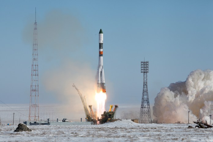 In this photo provided by the Russian Space Agency (Roscosmos) press service, a Soyuz-U booster rocket carrying the Progress MS-05 spacecraft blasts off from the Russian-leased Baikonur Cosmodrome in Kazakhstan Wednesday, Feb. 22, 2017. The unmanned Russian cargo ship lifted off successfully Wednesday on a supply mission to the International Space Station. (Russian Space Agency Roscosmos press service via AP)