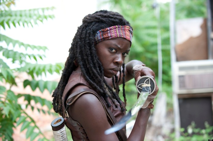 Michonne, a character from the Walking Dead, fascinates fans by how well she uses her katana to survive.(Photo courtesy of The Huffington Post)