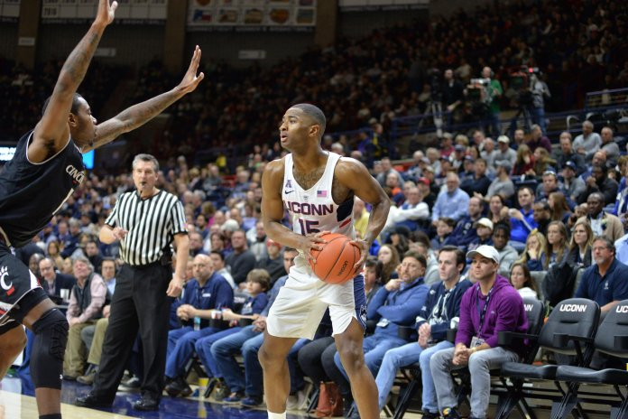The UConn men's basketball team falls 67-47 to the Cincinnati Bearcats on Senior Nite in Gampel Pavilion on Sunday, March 5, 2017. Rodney Purvis led the team in scoring with 15 points. (Amar Batra/ The Daily Campus)