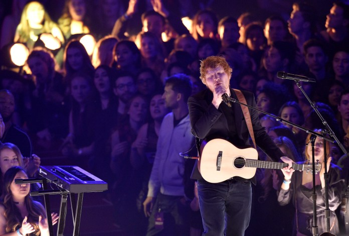 Ed Sheeran performs at the iHeartRadio Music Awards at the Forum on Sunday, March 5, 2017, in Inglewood, Calif. (Chris Pizzello/AP Exchange)