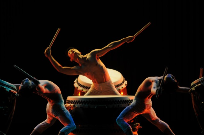 """""""Kodo,"""" the Japanese word for heartbeat, is one of the most famous professonial taiko groups in the world.(Ginikachi Anosike/The Daily Campus)"""