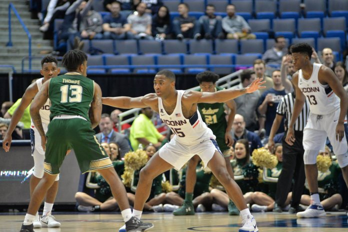 Rodney Purvis guards the perimeter during UConn's 77-66 win over USF in the first round of the American Athletic Conference Tournament on Thursday, March 9, 2017 at the XL Center in Hartford. The Huskies will take on Houston tonight at 9 p.m. (Amar Batra/The Daily Campus)
