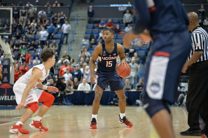 UConn guard Rodney Purvis sizes up a defender during UConn's 74-65 win over Houston in the American quarterfinals Friday at the XL Center in Hartford. (Amar Batra, Senior Staff Photographer/The Daily Campus)