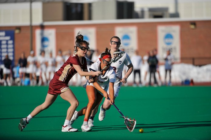 UConn Women's Lacrosse team lost to Boston College on home opener with a final score of 14-11 on Wednesday, February 22, 2017 at George J. Sherman Family Sports Complex. (Jason Jiang/The Daily Campus)