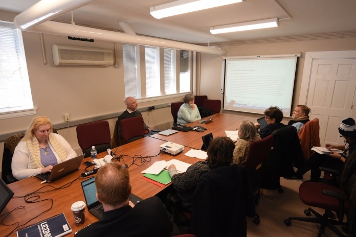 The university Senate Curricula and Courses Committee met at Hall Dorm to discuss addition, deletion and changes in courses on Wed.,March 22nd. They are working toward redoing the GenEd requirements for students. (Zhelun Lang/The Daily Campus)