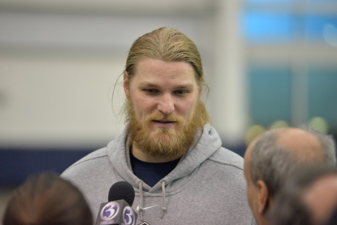 Andreas Knappe talks with reporters at the UConn Pro Scouting Day in the Shenkman Training Center on March 22, 2017. (Amar Batra/The Daily Campus)