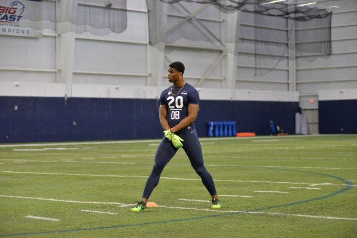 Celebrated defensive back Obi Melifonwu waits for a signal during the UConn Pro Scouting Day in the Shenkman Training Center on March 22, 2017. (Amar Batra/The Daily Campus)