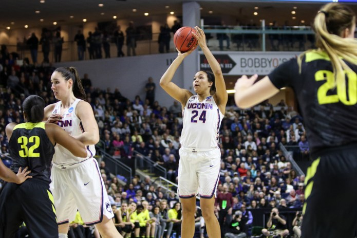 UConn's Napheesa Collier spots up for a jump shot in the second half. Collier led all scores with 28 points.