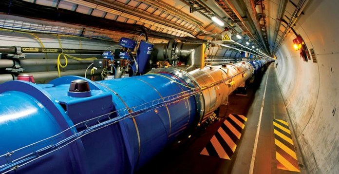 The Large Hadron Collider, found on the French-Switzerland board, is known as the world's largest single machine.(Photo courtesy of CERN)