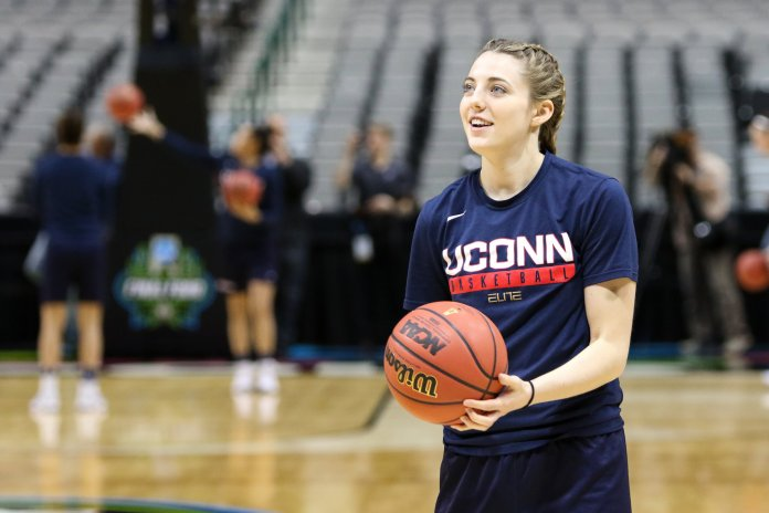 UConn sophomore Katie Lou Samuelson lines up a jump shot during the Huskies' practice Thursday March 30, 2017 at the American Airlines Center in Dallas, Texas. (Jackson Haigis/The Daily Campus)