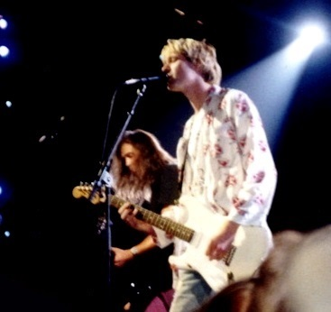 """Nirvana singer Kurt Cobain, seen here at a 1992 show,was called the """"voice of Generation X."""" (Courtesy/Wikipedia)"""
