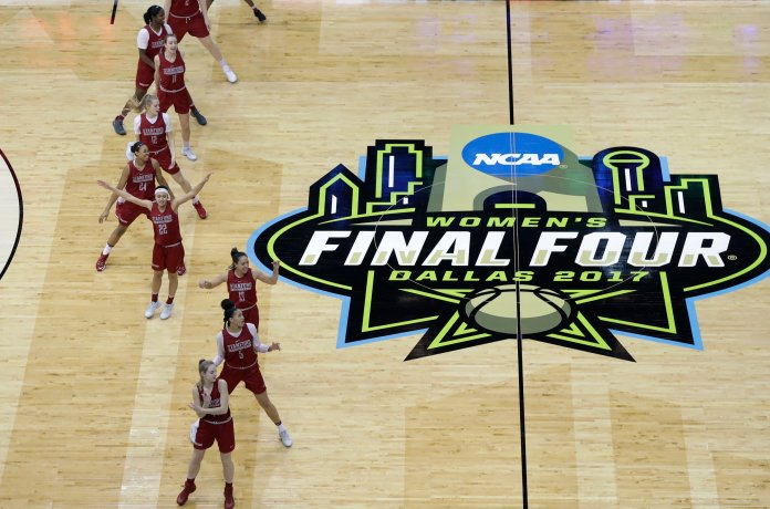 Stanford players take part in practice for the women's NCAA Final Four college basketball tournament, Thursday, March 30, 2017, in Dallas. (AP Photo/Eric Gay)
