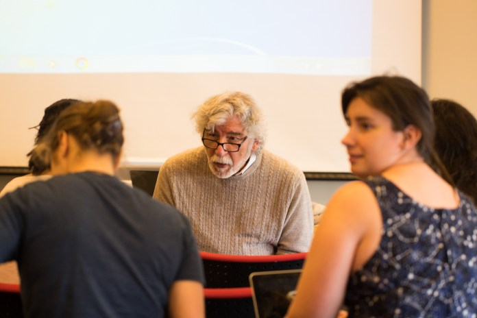 """UConn hosts a retreat for writers and poets. John Surowiecki gives a lecture titled """"Getting Published Without the Education"""" at the First UConn Writers retreat on Sunday, April 2, 2017.(Tyler Benton/The Daily Campus)"""