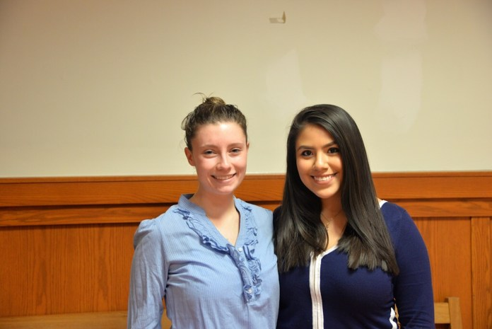 Vice Preisdential candidate Lysette Johnson and presidential candidate Irma Valverde. (Amar Batra/The Daily Campus)
