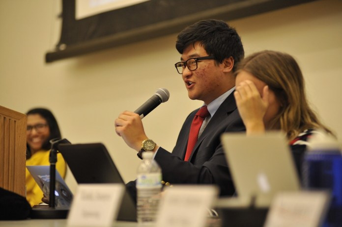 The USG Senate meeting took place in the Student Union Ballroom on Wednesday, April 25, 2017. A bill about supporting environmental policy in UConn 2020 Vision was discussed. (Jason Jiang/The Daily Campus)