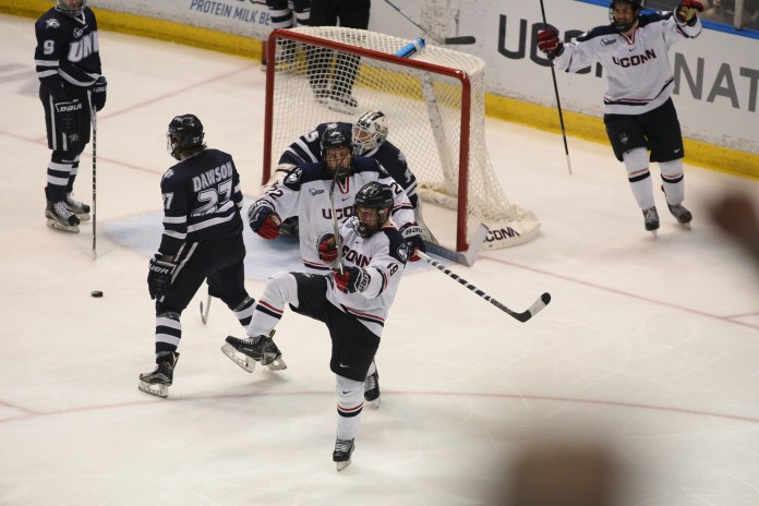 UConn men's hockey beats UNH at the XL center at Feb 25th at XL center with a final score of 4-2. (Zhelun Lang/ The Daily Campus)